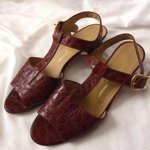 Salvatore Ferragamo Brown Crocodile Sandals 6.5AA
